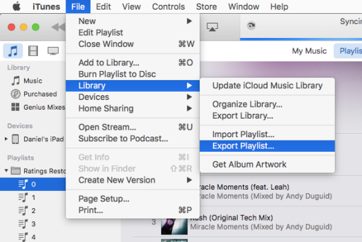 Screenshot of how to export a playlist in iTunes.