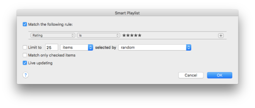Screenshot of iTunes Smart Playlist Creator