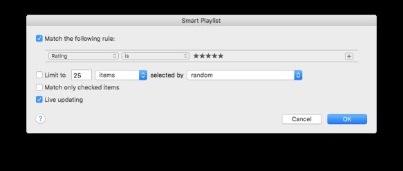 Screenshot of iTunes Smart Playlist Creator